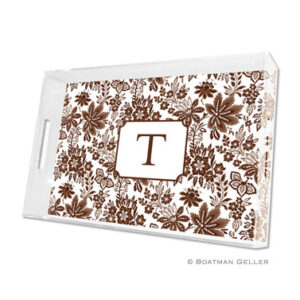 Lucite Tray - Classic Floral Brown