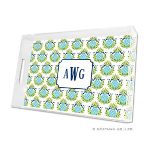 Lucite Tray - Pineapple Repeat Teal